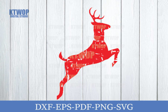 Print on Demand: Christmas Grunge Elements Deer Jump a Graphic Crafts By KtwoP