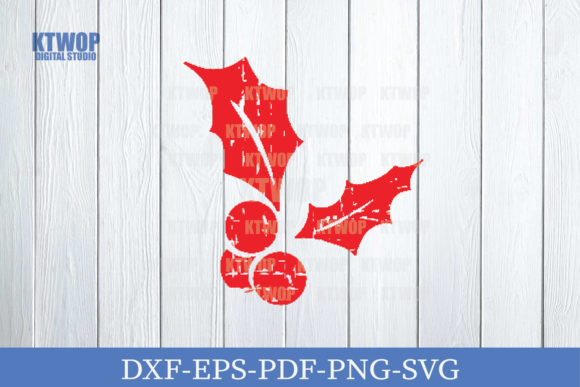 Print on Demand: Christmas Grunge Elements Holly Berry. Graphic Crafts By KtwoP