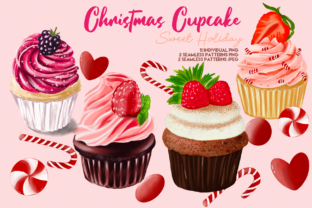 Print on Demand: Christmas Cute Cupcake Clipart Grafik Illustrationen von Suda Digital Art