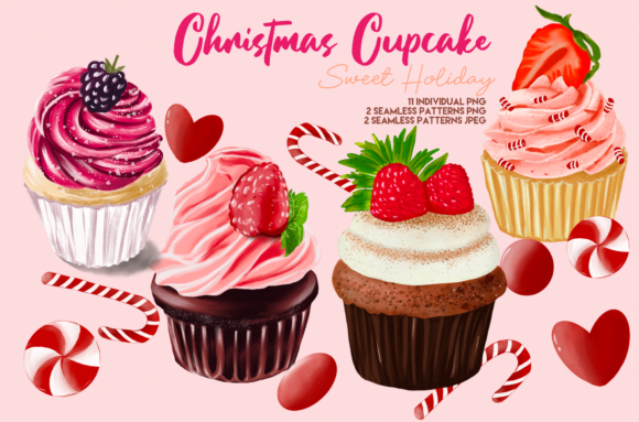 Print on Demand: Christmas Cute Cupcake Clipart Graphic Illustrations By Suda Digital Art