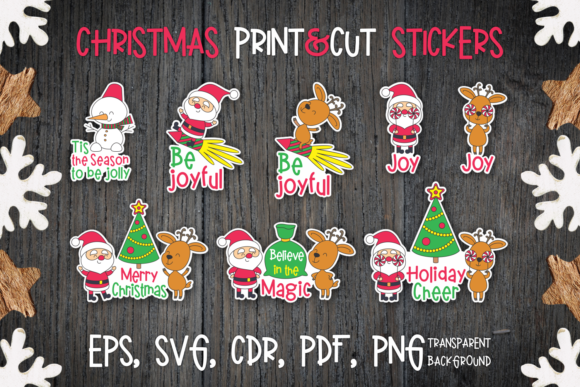 Print on Demand: Christmas Stickers with Santa and Deer. Graphic Crafts By Olga Belova