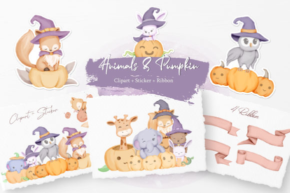 Cute Animals with Pumpkin Graphic Illustrations By alolieli