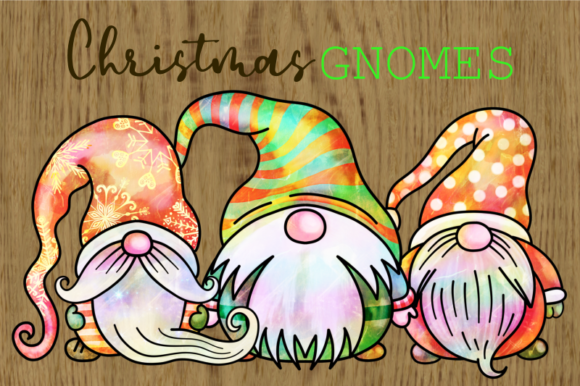 Print on Demand: Cute Watercolor Christmas Gnomes Graphic Illustrations By Prawny