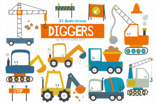 Print on Demand: Diggers Clipart Set Graphic Illustrations By poppymoondesign