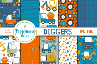 Print on Demand: Diggers Paper Set Graphic Patterns By poppymoondesign 1