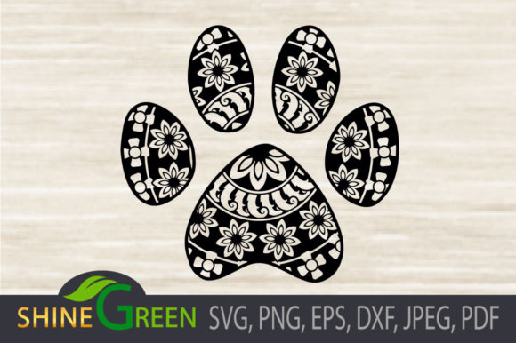 Print on Demand: Dog Cat Paw Floral Mandala - Pet Lovers Graphic Crafts By ShineGreenArt