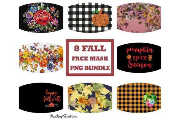 Print on Demand: Fall Face Mask PNG Sublimation Designs Graphic Crafts By Mockup Station
