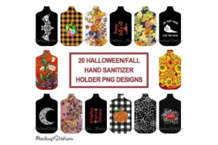 Print on Demand: Fall Halloween Hand Sanitizer Holder PNG Graphic Objects By Mockup Station 1