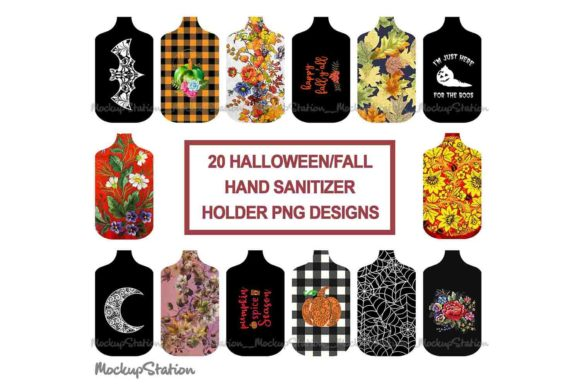 Print on Demand: Fall Halloween Hand Sanitizer Holder PNG Graphic Objects By Mockup Station