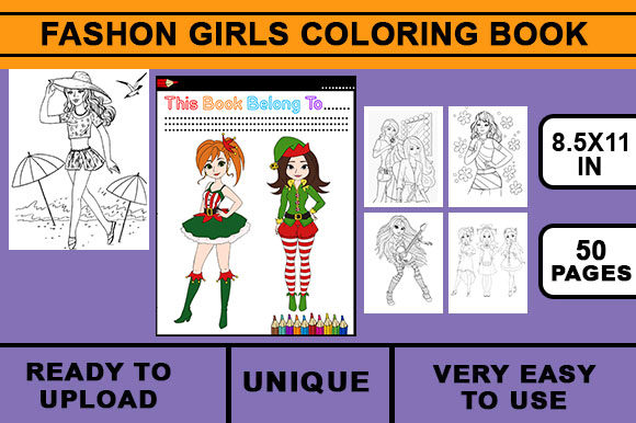 Print on Demand: Fashion Girls Coloring Book Graphic KDP Interiors By Artistcreativedesign