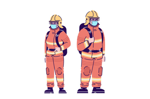 Print on Demand: Firefighters in Covid19 Pandemic Graphic Illustrations By bsd studio