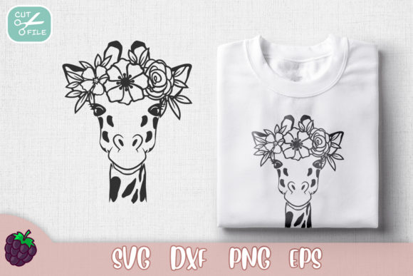 Floral Crown Cute Giraffe Graphic Crafts By SVGasART