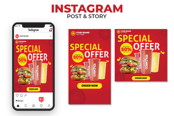 Print on Demand: Food - Instagram Post & Story Graphic Websites By JunioR Creative - Image 1
