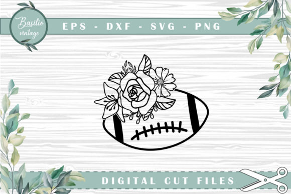 Football Floral Cutting Files Graphic Crafts By basilio.vintage