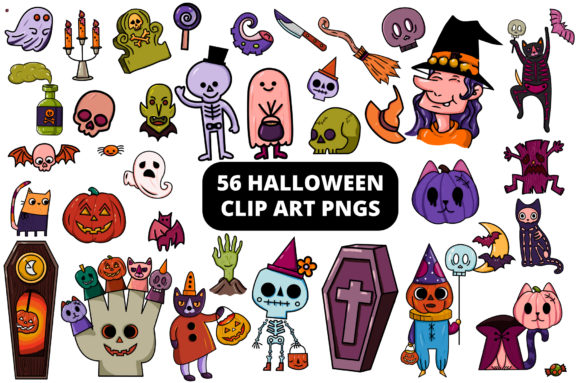 Print on Demand: Free Halloween Clipart Set - 56 Elements Graphic Illustrations By MikeToon Studio