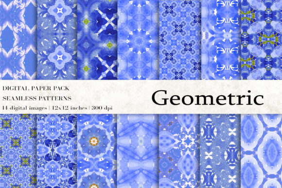 Geometric Ikat Digital Papers Graphic Patterns By BonaDesigns