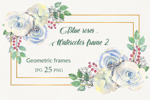 Print on Demand: Geometric Gold Frames with Blue Flowers Graphic Illustrations By Natika_art