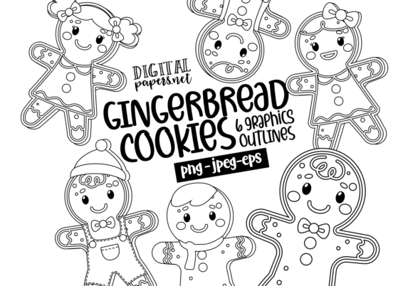 Print on Demand: Gingerbread Cookies -  Outlines Graphic Illustrations By DigitalPapers