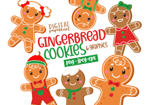 Print on Demand: Gingerbread Men Cookies Graphic Illustrations By DigitalPapers