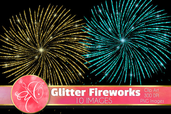 Glitter Fireworks Clip Art, Overlays Graphic Illustrations By paperart.bymc