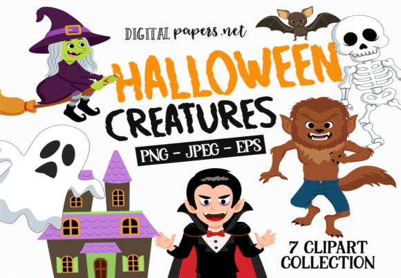 Print on Demand: Halloween Classic Creatures Graphic Illustrations By DigitalPapers