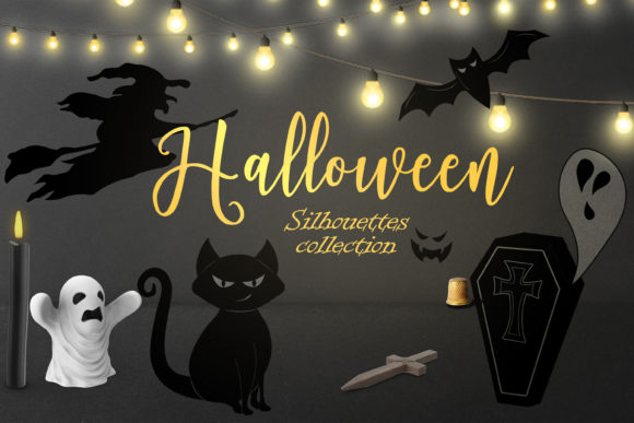 Halloween Collection of Black Silhouette Graphic Illustrations By ksenia.shuneiko
