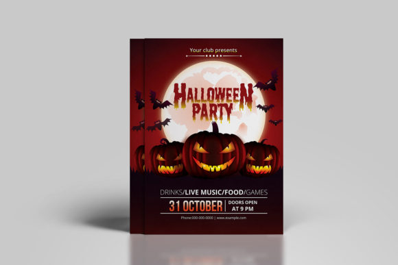 Print on Demand: Halloween Party Invitation Template Graphic Print Templates By sistecbd