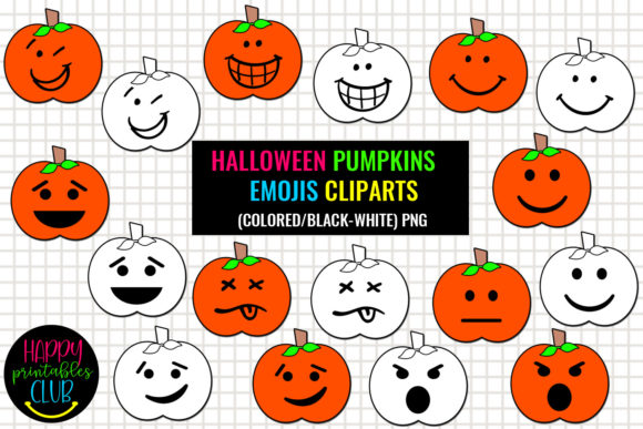 Print on Demand: Halloween Pumpkins Emojis Cliparts Graphic Illustrations By Happy Printables Club