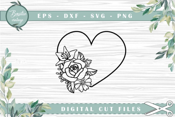 Heart Floral Cutting Files Gráfico Crafts Por basilio.vintage