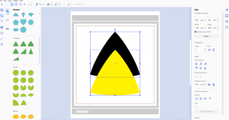 How to slice shapes in Brother Canvas Workspace