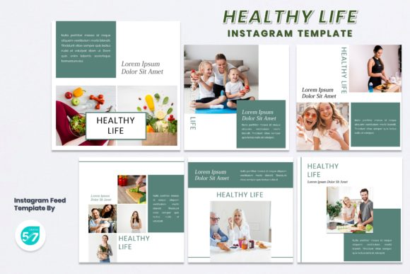 Instagram Feed Template - Healthy Life Graphic Presentation Templates By maju57creative