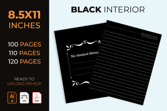 Kdp Interior, Black Paper Lined Notebook Graphic KDP Interiors By medelwardi