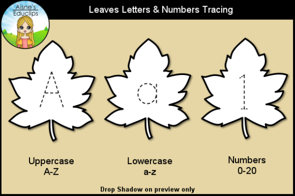 Print on Demand: Leaves Letters & Numbers Tracing Graphic Teaching Materials By Aisne Educlips