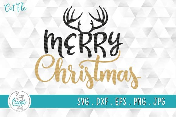 Merry Christmas Antlers Svg Graphic Crafts By EasyConceptSvg