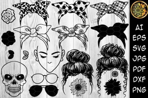Messy Bun Bandana Mom Life SVG Clip Art Graphic Illustrations By V-Design Creator