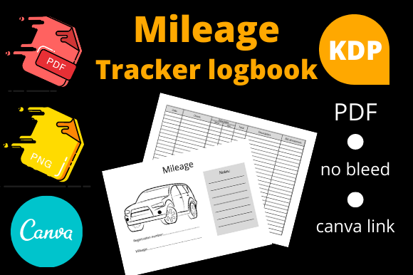 Print on Demand: Mileage Tracker Logbook | KDP Interior Graphic KDP Interiors By Dunkyshot