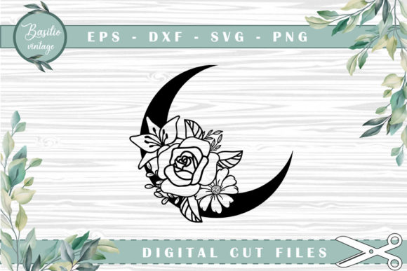 Moon Floral Cutting Files Graphic Crafts By basilio.vintage
