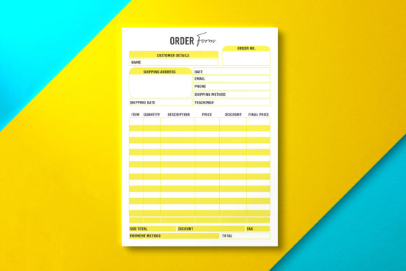 Order Form, Template Yellow Graphic KDP Interiors By Nickkey Nick