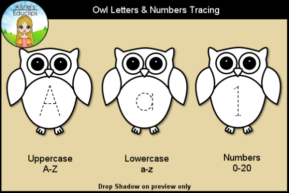 Print on Demand: Owl Letters & Numbers Tracing Clip Art Graphic Teaching Materials By Aisne Educlips