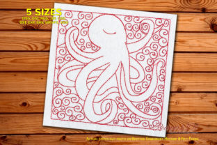 Pattern with Cute Octopus Fish & Shells Embroidery Design By Redwork101