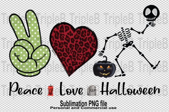 Print on Demand: Peace Love Halloween Sublimation Designs Graphic Crafts By TripleBcraft