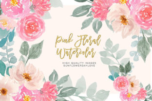 Print on Demand: Pink and Gold Watercolor Floral Clipart Graphic Illustrations By SunflowerLove