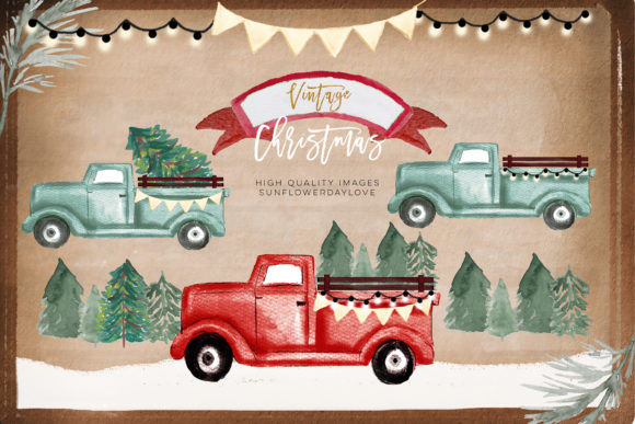 Print on Demand: Red Truck PNG Clipart, Christmas Winter Graphic Illustrations By SunflowerLove