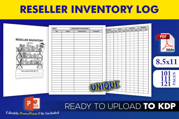 Print on Demand: Reseller Inventory Log Book KDP Interior Graphic KDP Interiors By Beast Designer