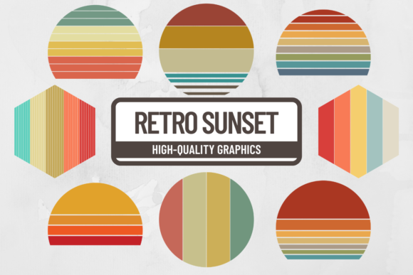 Print on Demand: Retro Sunset Striped Background Graphic Backgrounds By atlasart