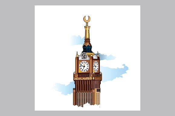 Royal Clock Tower Building in Mecca Graphic Illustrations By emnazar2009