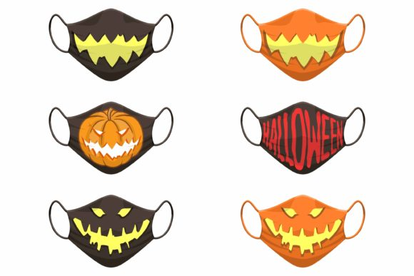 Print on Demand: Set of Fabric Face Mask Halloween Icon Graphic Product Mockups By Joharium