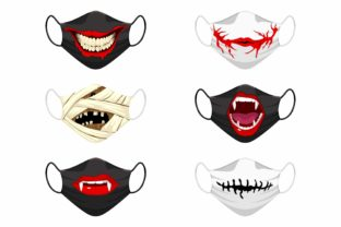 Print on Demand: Set of Fabric Face Mask - Halloween Icons Graphic Product Mockups By Joharium