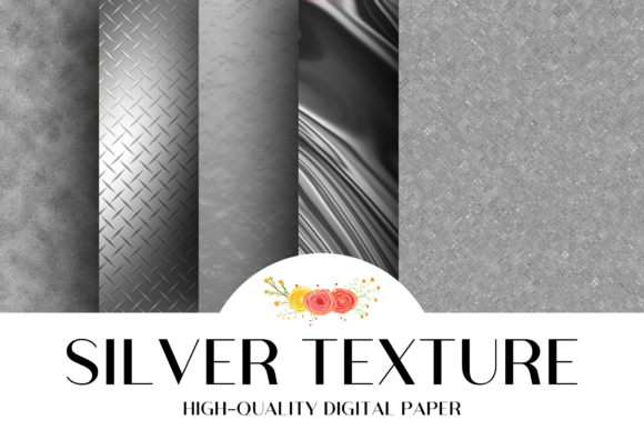 Print on Demand: Silver Textures Digital Paper Graphic Textures By atlasart