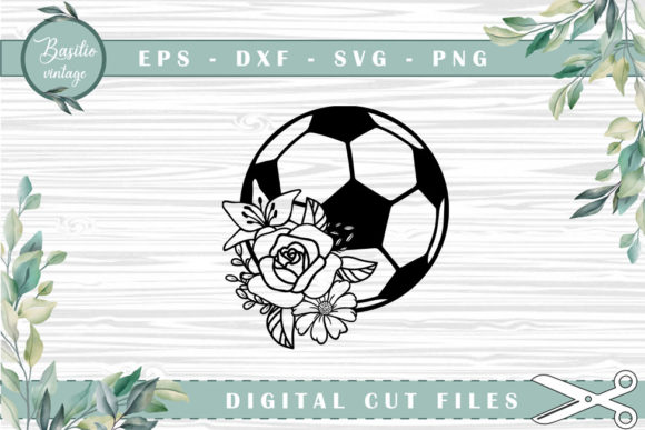 Soccer Floral Cutting Files Graphic Crafts By basilio.vintage